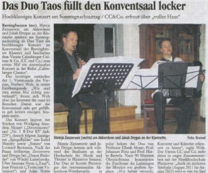 Press - Taos - Das duo Taos fullt den Konventsaal locker